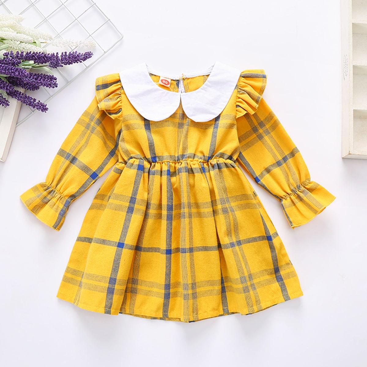 Расклешенное платье в клетку с контрастным воротником для девочек от SHEIN