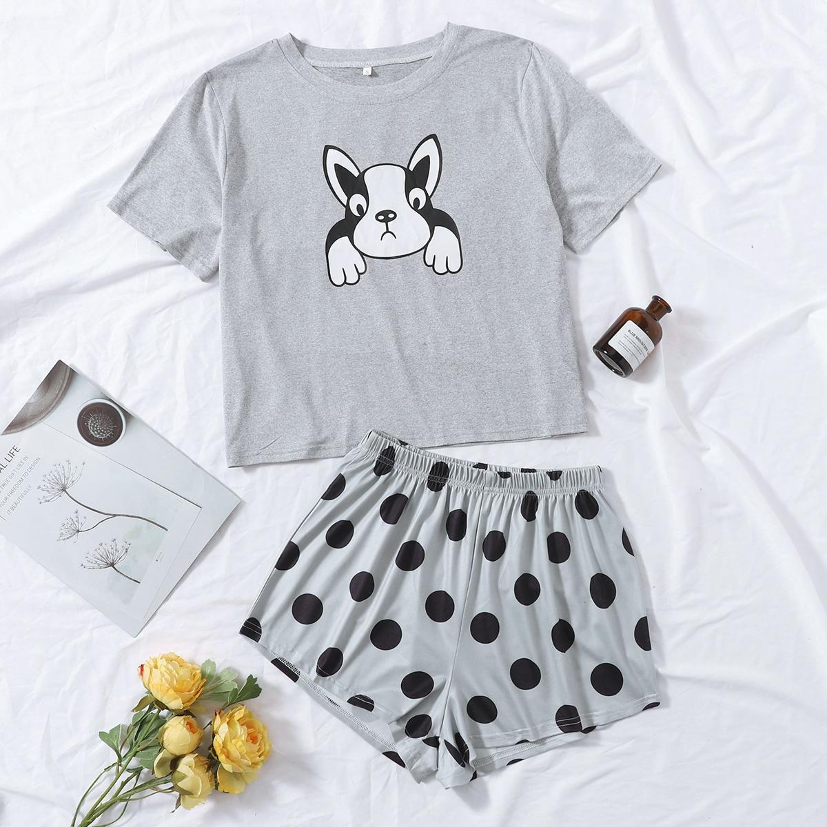 Conjunto de pijama con estampado de lunares y de dibujos animados