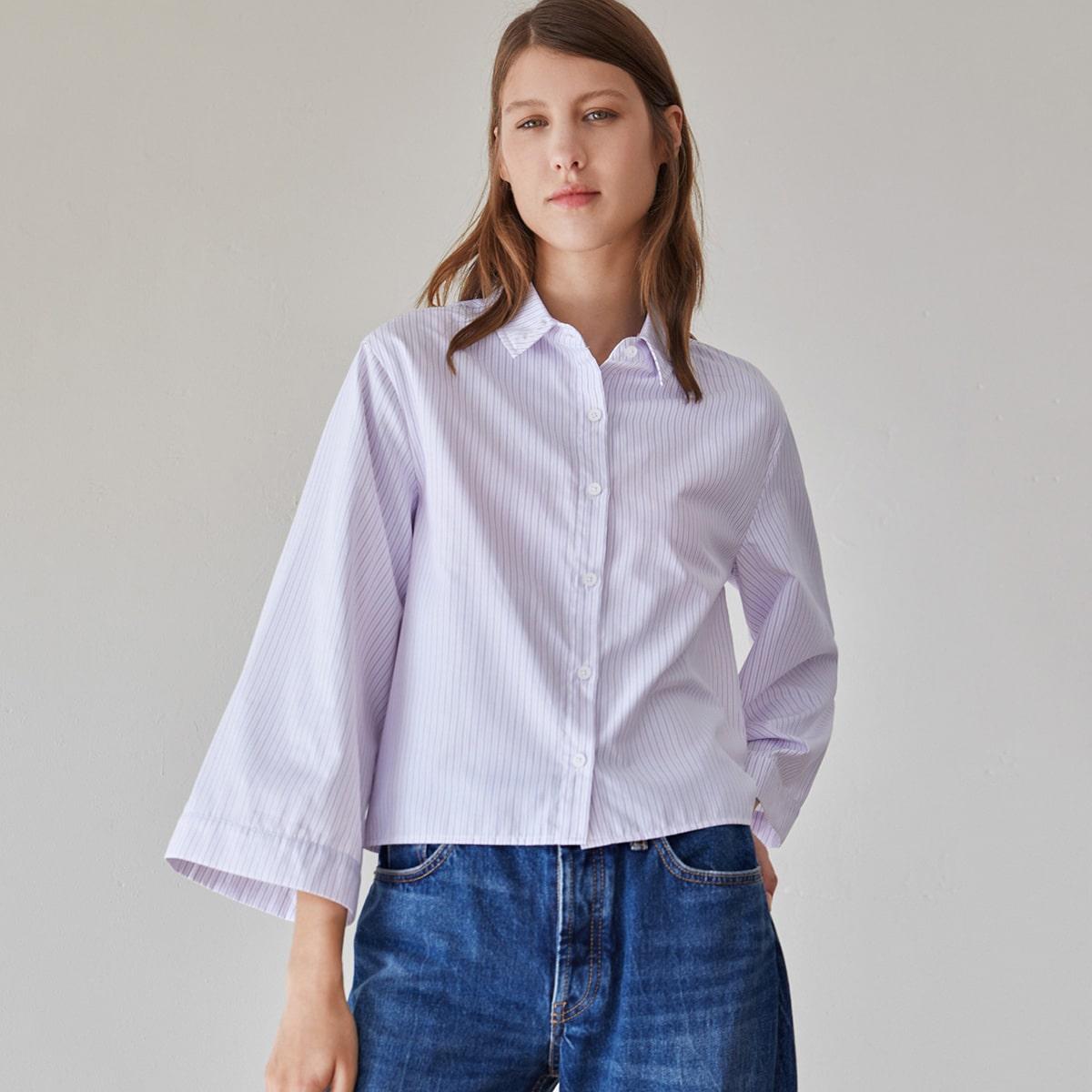 Однобортная блузка в полоску по цене 760