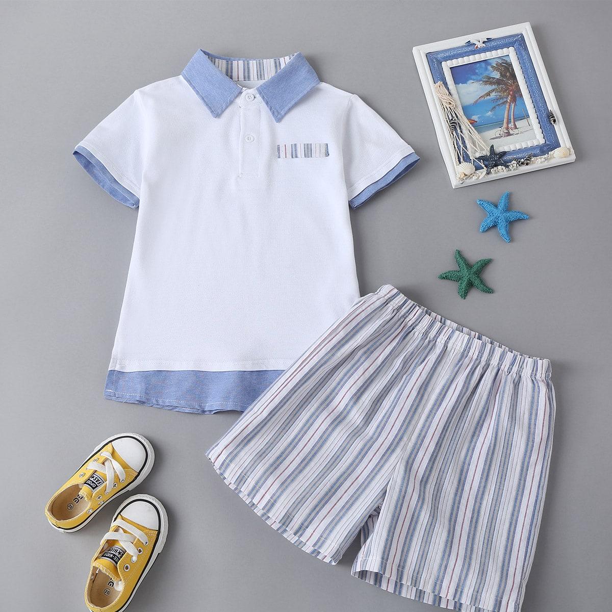 Toddler Boys Polo Neck Tee & Stripe Shorts, SHEIN  - buy with discount