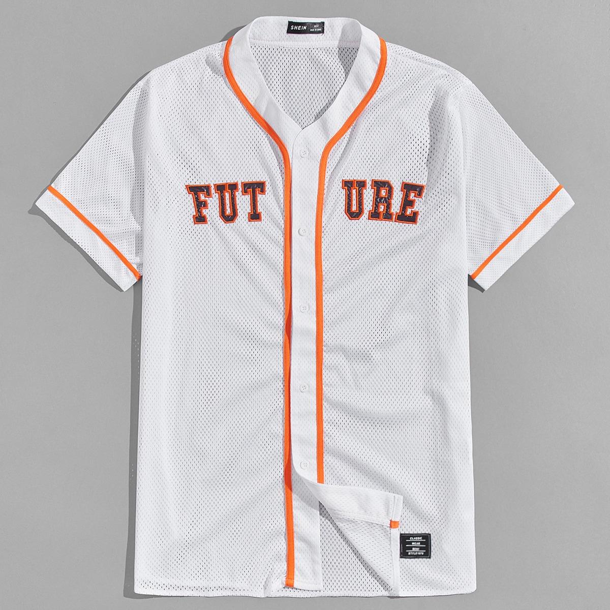 Мужская сетчатая рубашка с текстовой вышивкой