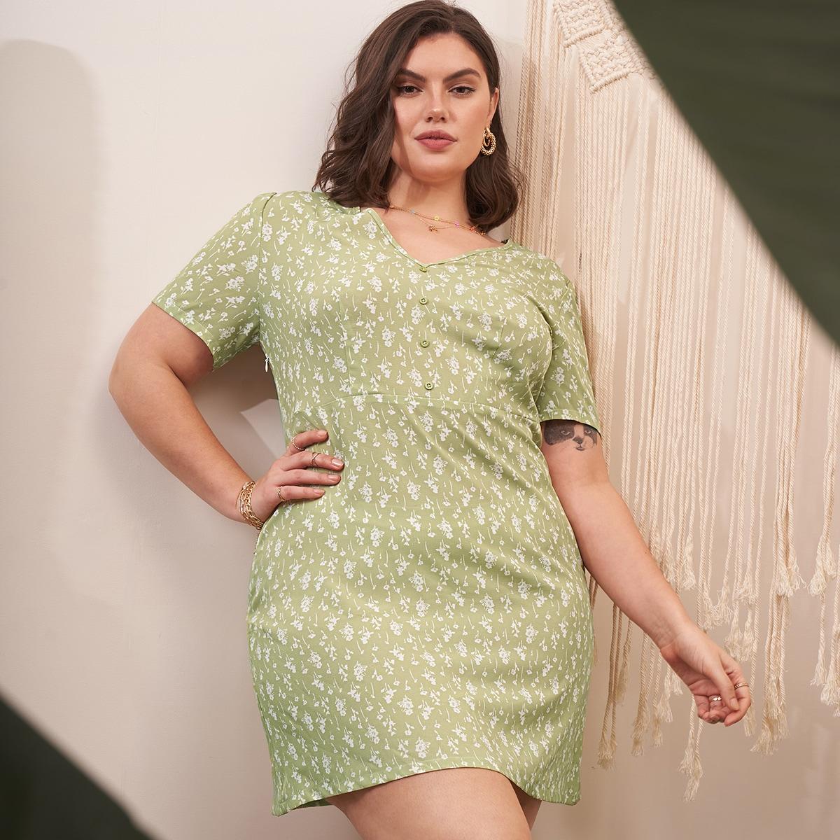 Платье размера плюс с цветочным принтом по цене 688