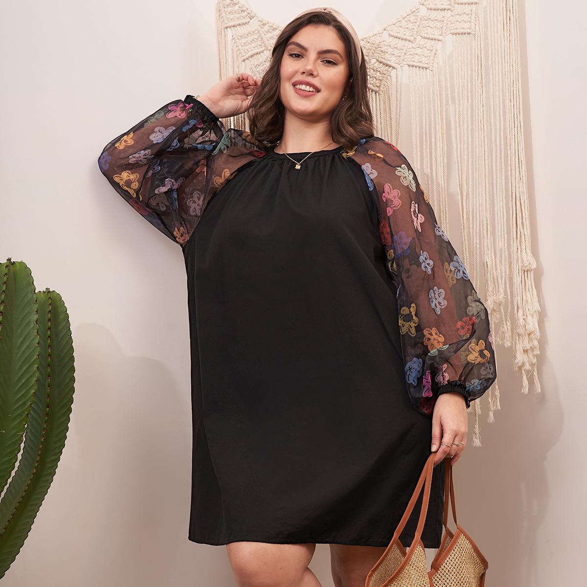 Платье размера плюс с рукавами из органзы и цветочным принтом по цене 1 140