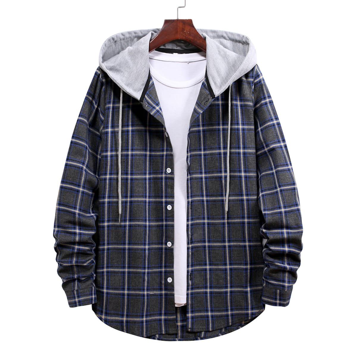 на кулиске Клетчатый Институтский Мужские рубашки SheIn rmshirt03210225408