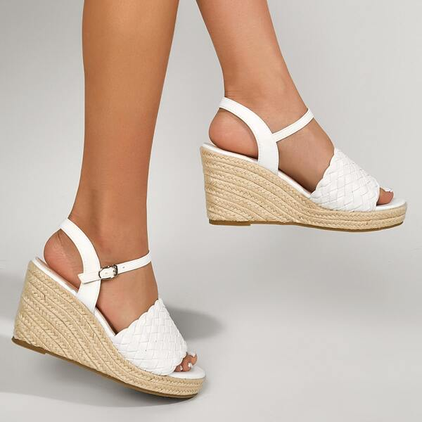 Braided Ankle Strap Wedge Sandals, White