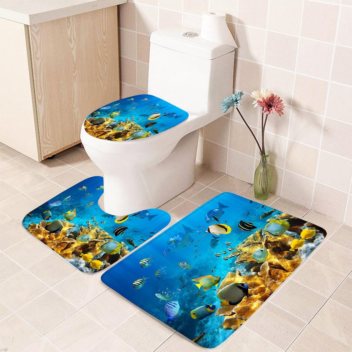 1 Stück Badezimmer Non-slip Toilette-Matte mit Fisch Muster