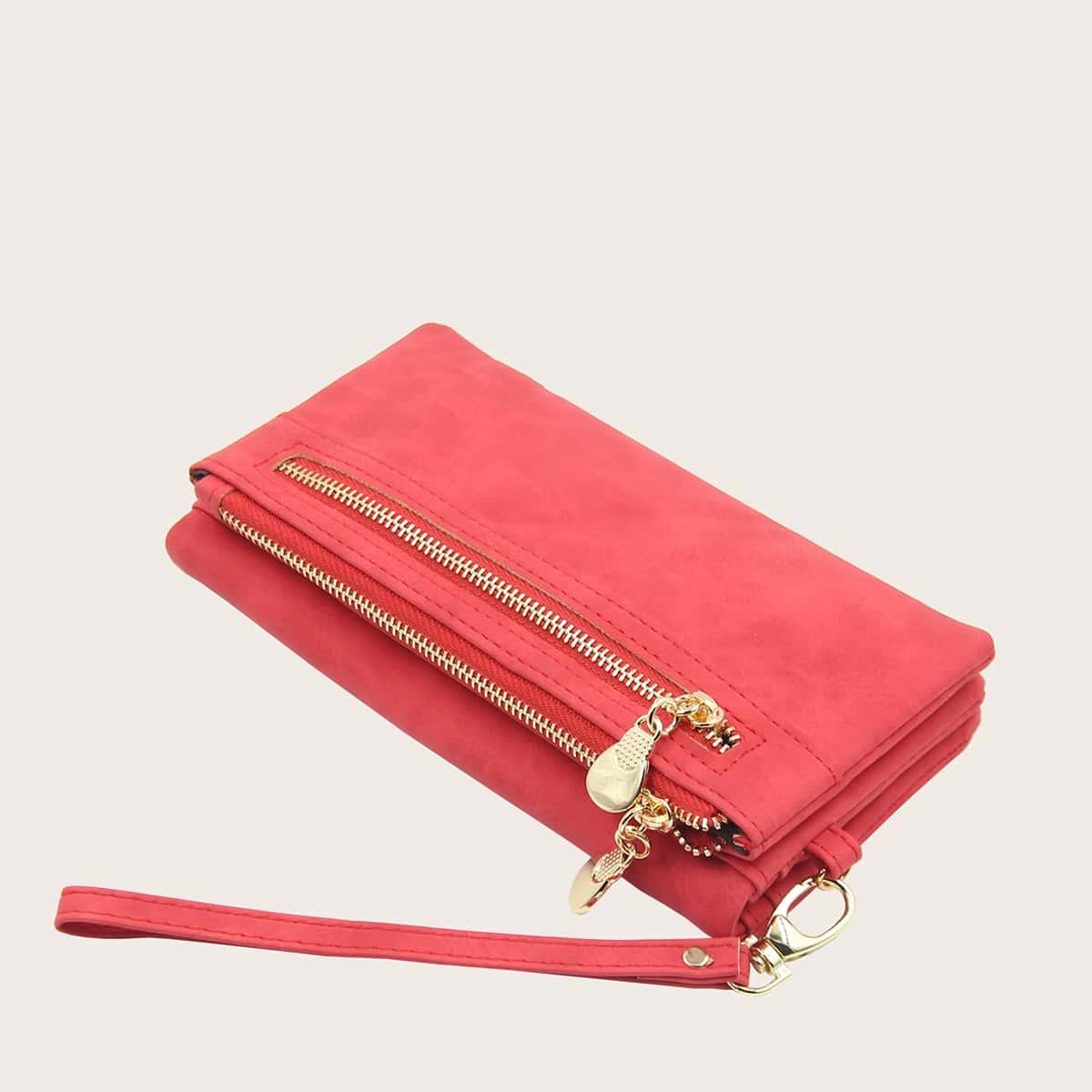 Zipper Long Wallet With Wristlet