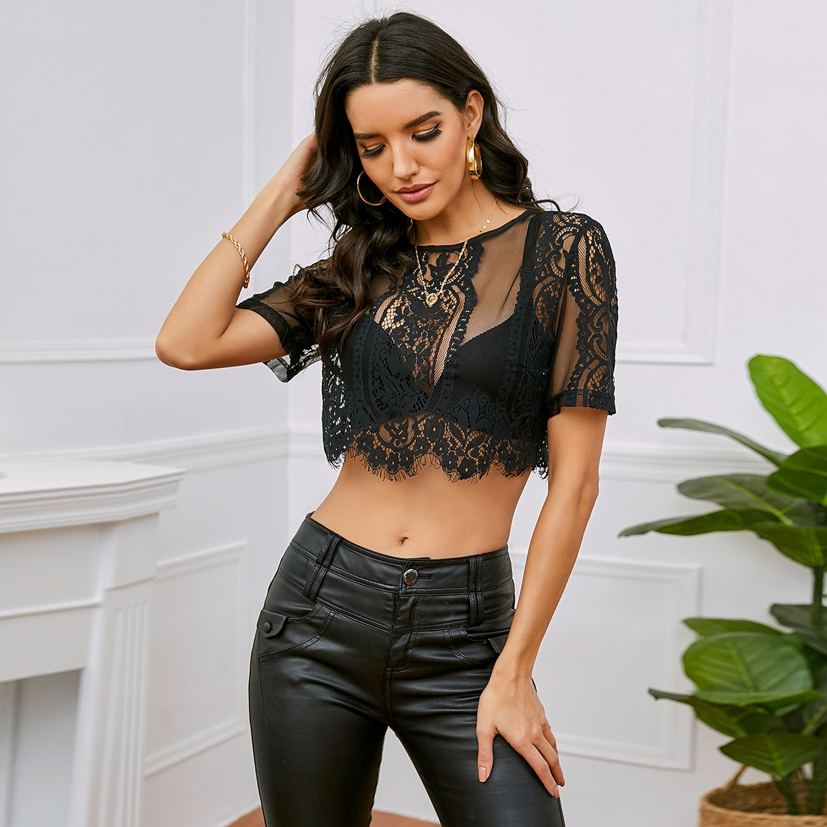 Sheer Lace Crop Top Without Bra