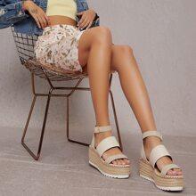 Faux Leather Espardrille Platform Sandals