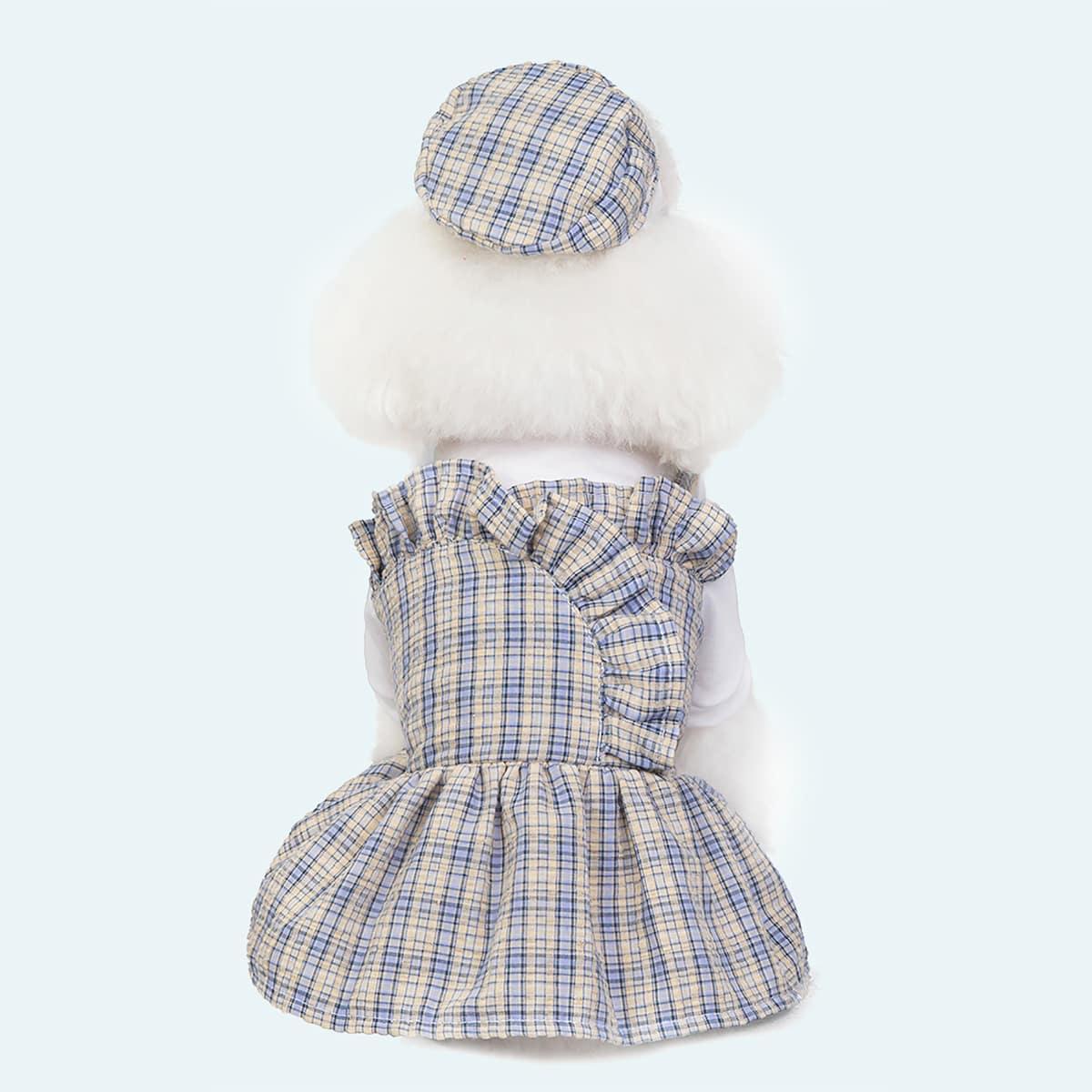 1 pièce Robe pour animaux de compagnie à motif de carreaux avec chapeau