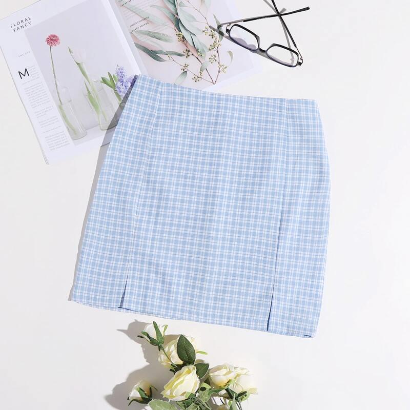 Gingham Split Hem Skirt, Baby blue