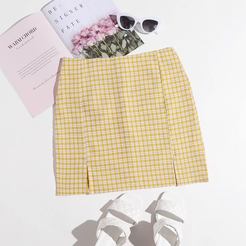 Gingham Split Hem Skirt, Yellow