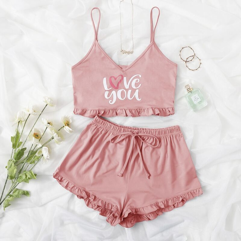 Letter Graphic Cami Top & Frill Trim Shorts PJ Set, Baby pink