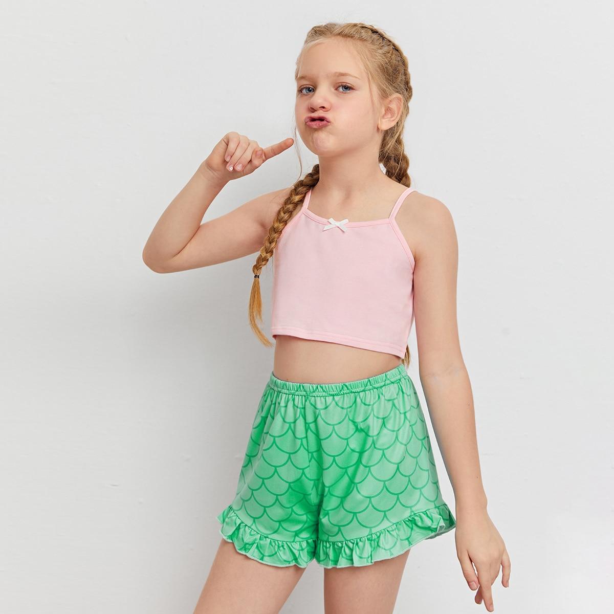 с бантом принт рыбьей чешуи милый Домашняя одежда для девочек