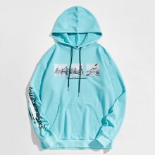 Guys Pouch Pocket Picture & Letter Graphic Hoodie