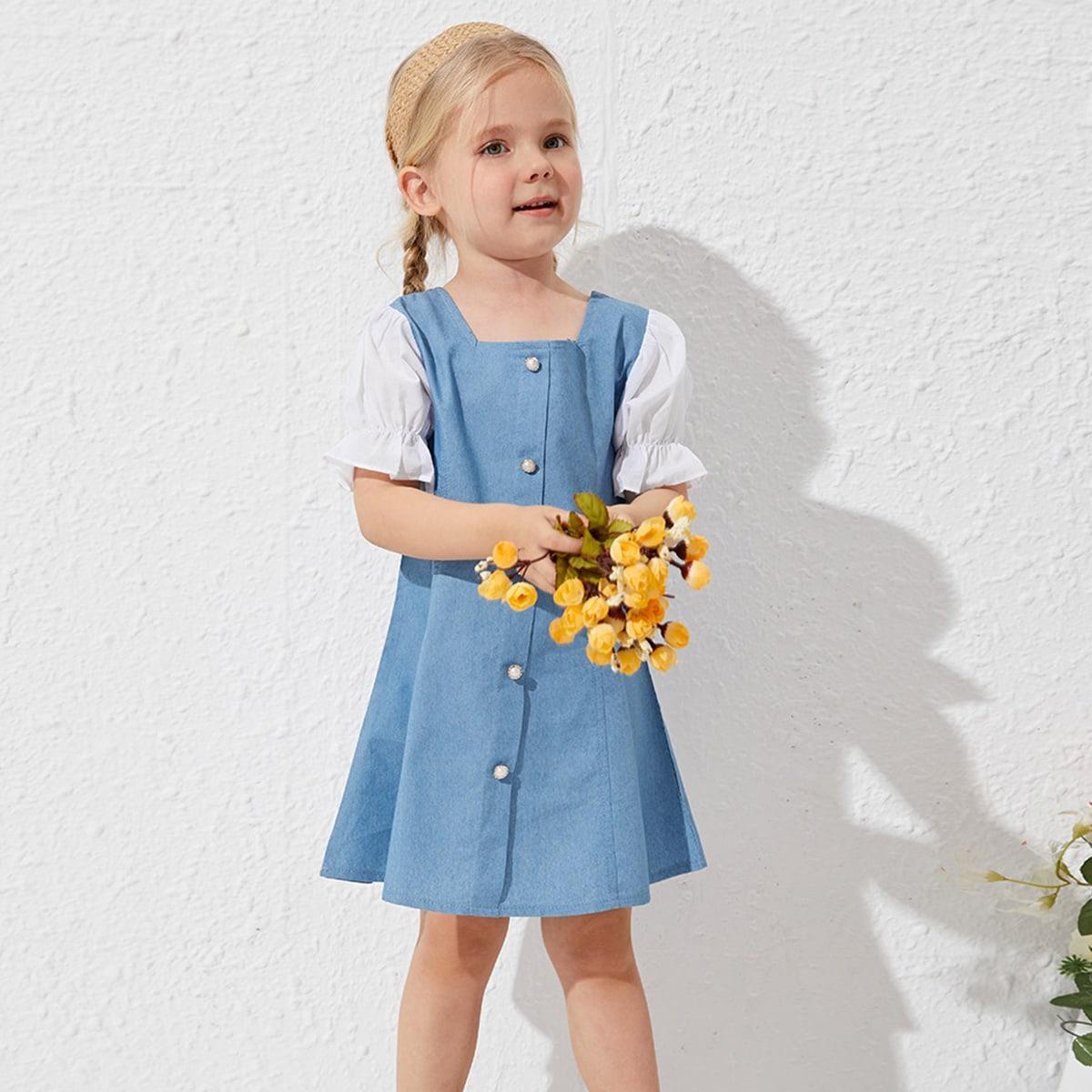 Для девочек джинсовое платье контрастный с рукавами-воланами на пуговицах