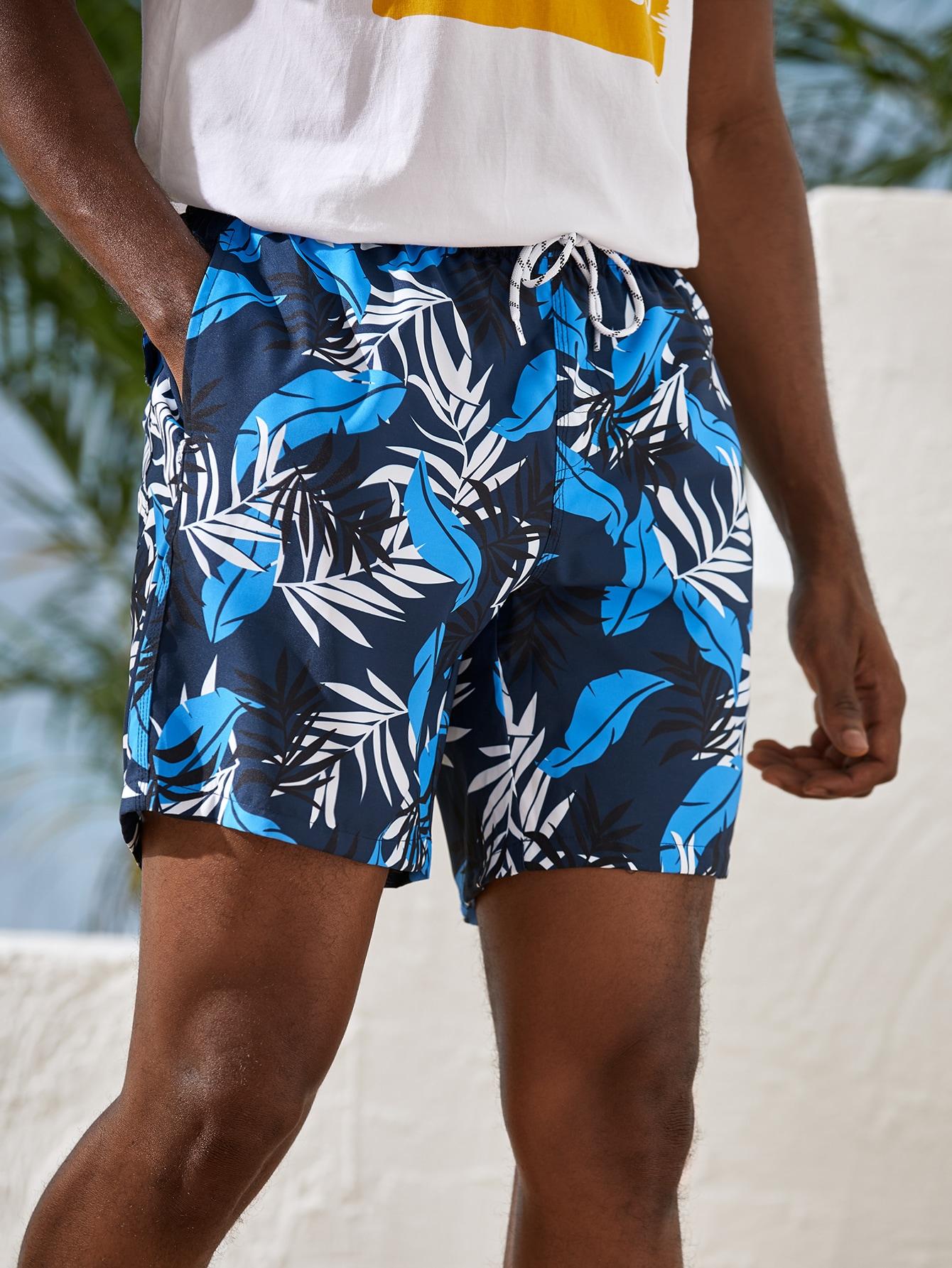 men tropical print drawstring swim trunks