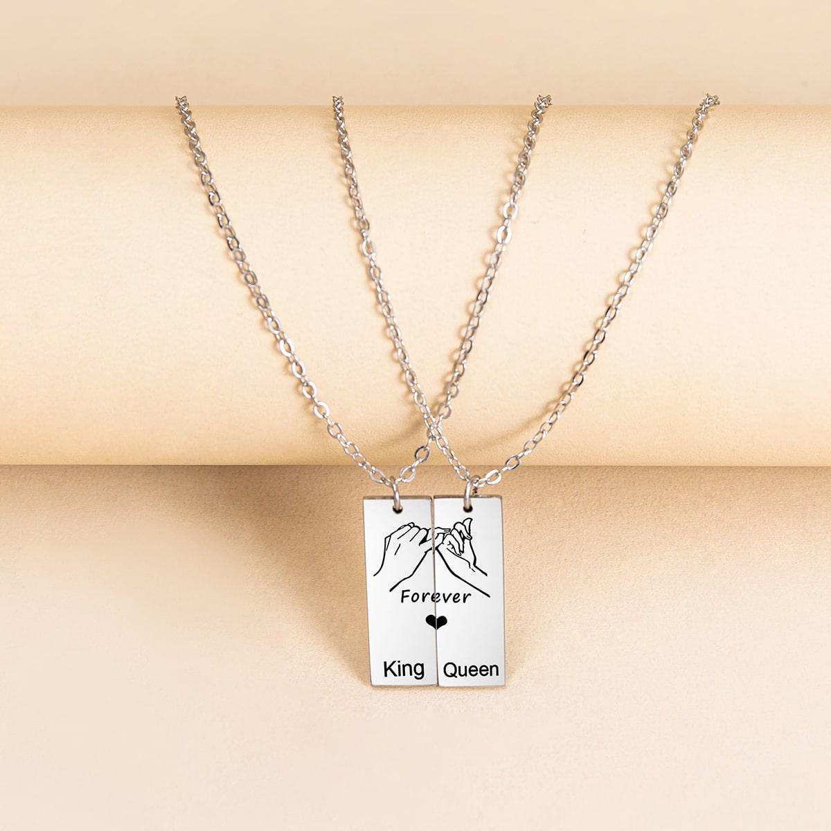 2 Stücke Paare Halskette mit geometrischem Dekor