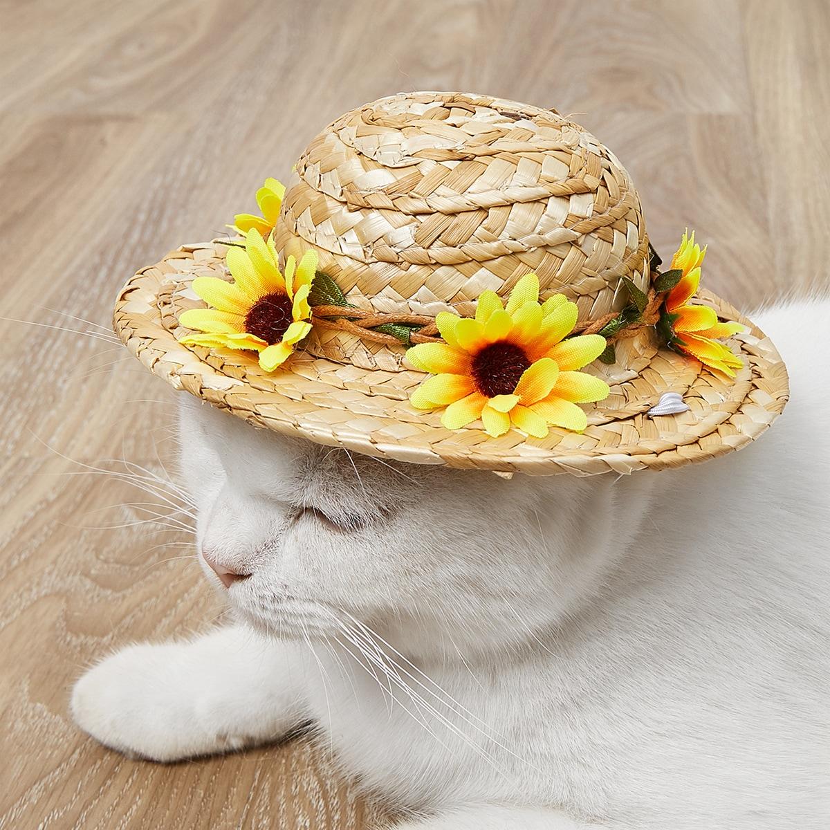 1pc Sunflower Decor Pet Straw Hat