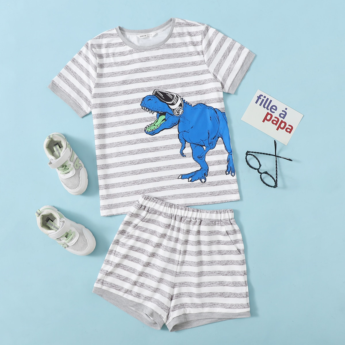 Boys Cartoon and Striped Top & Shorts Set