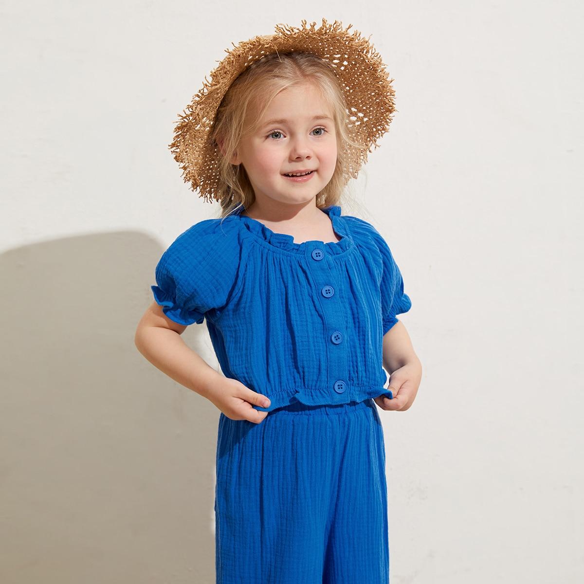Оборка одноцветный повседневный блузы для девочек