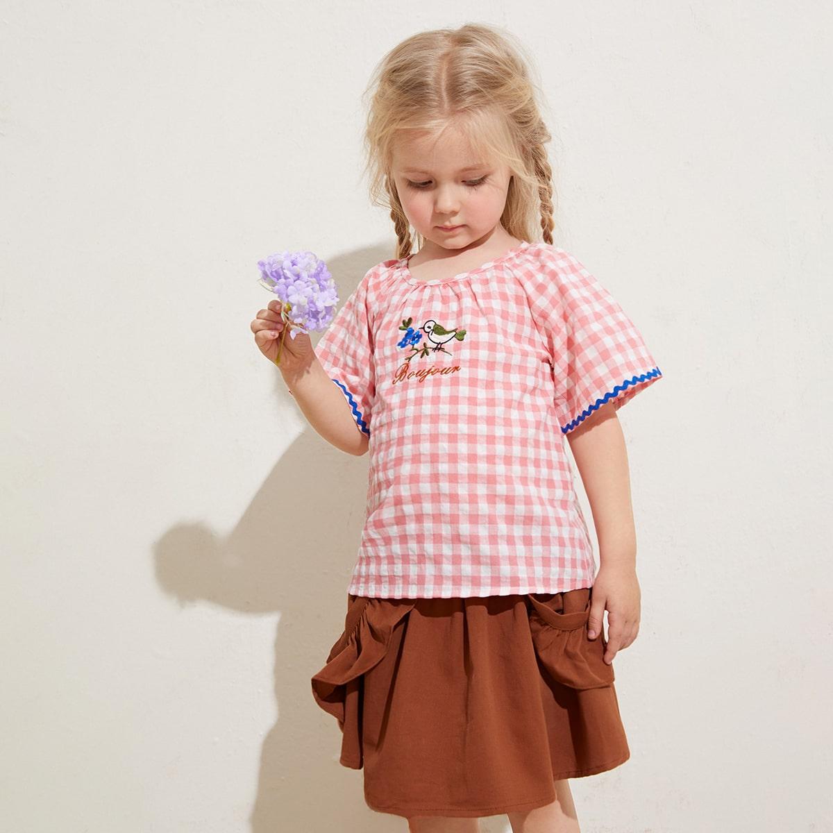 Пуговица буква повседневный блузы для девочек