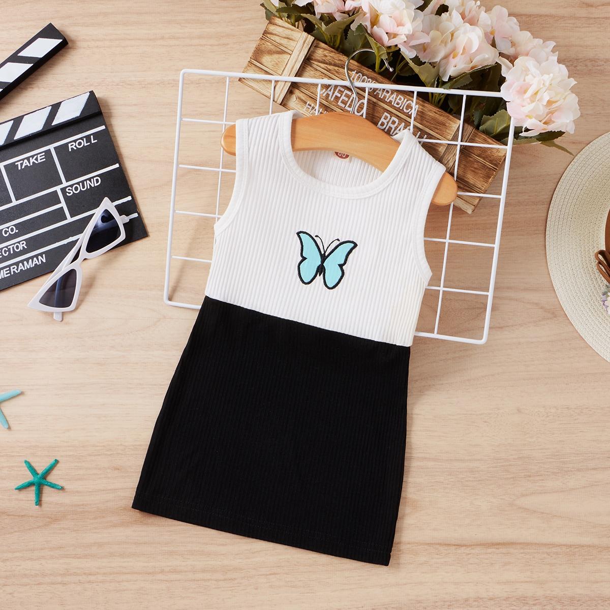 Платье-майка с вышивкой бабочки для девочек от SHEIN