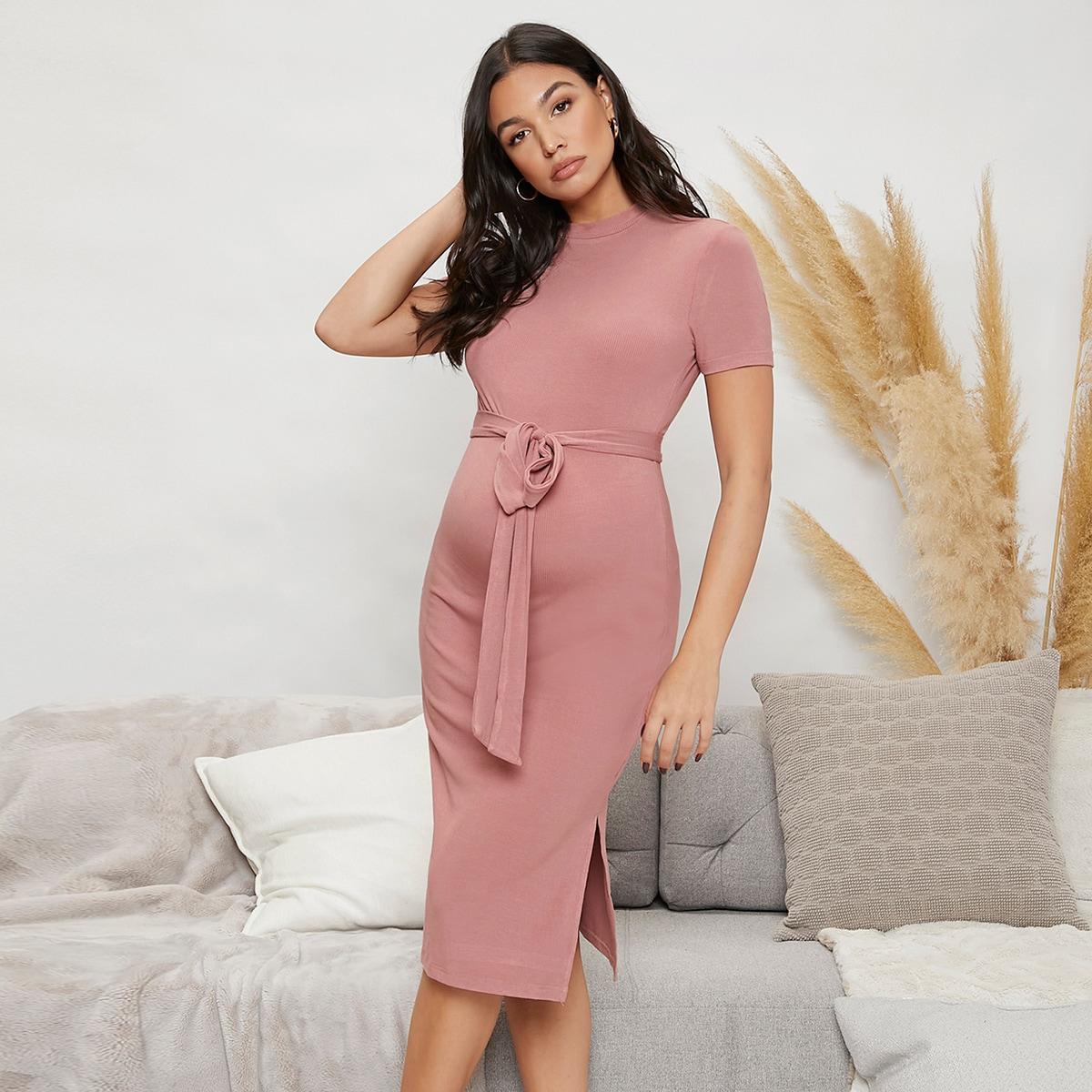 Umstandsmode Strick Kleid mit Stehkragen, Schlitz und Gürtel