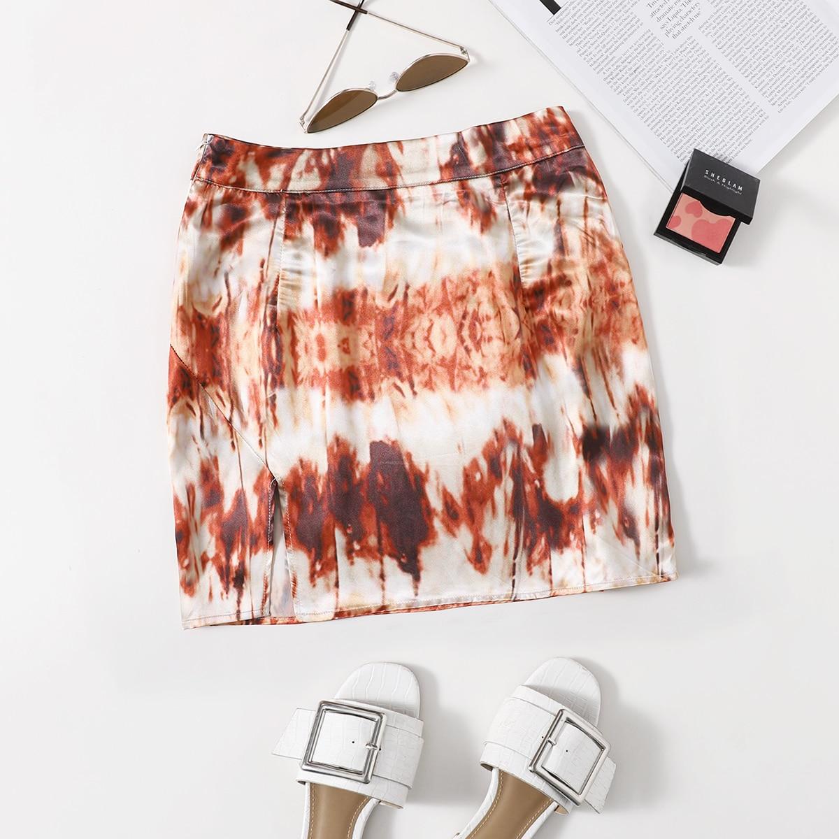 SHEIN / Zipper Side Split Hem Tie Dye Satin Skirt