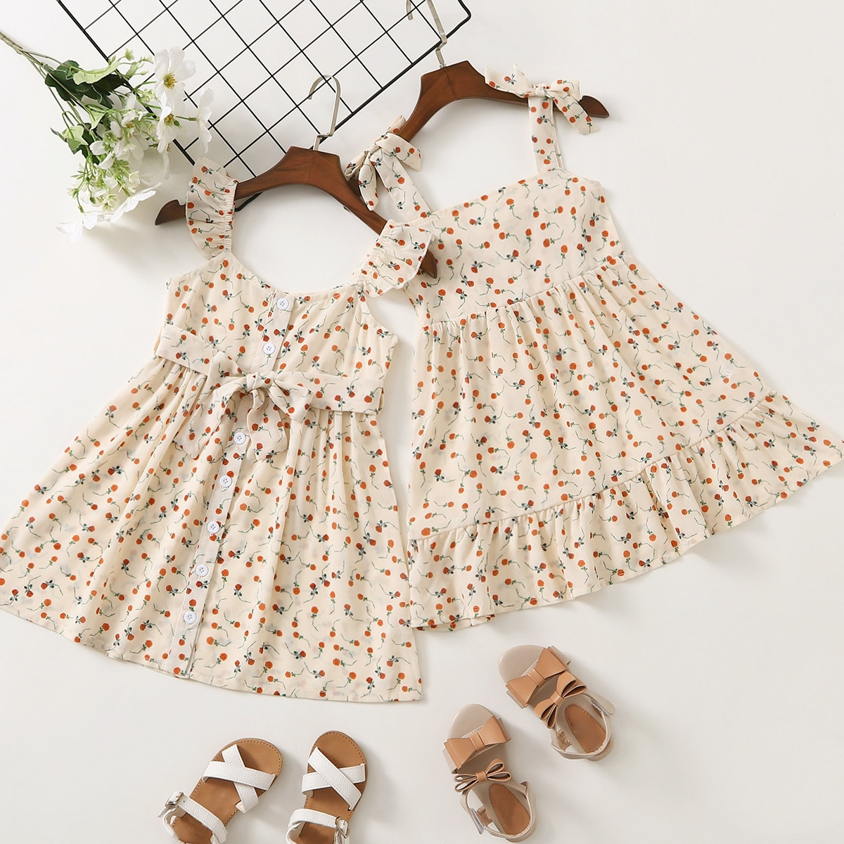 Toddler Girls Ditsy Floral Ruffle Belted A-line Dress