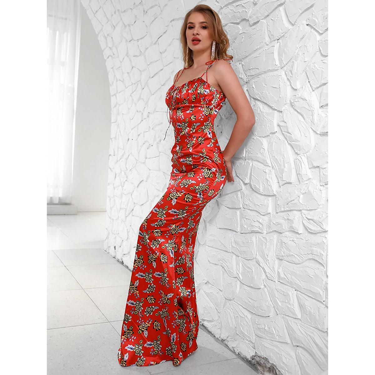 Атласное платье на бретельках с цветочным принтом SheIn swdress42210226084