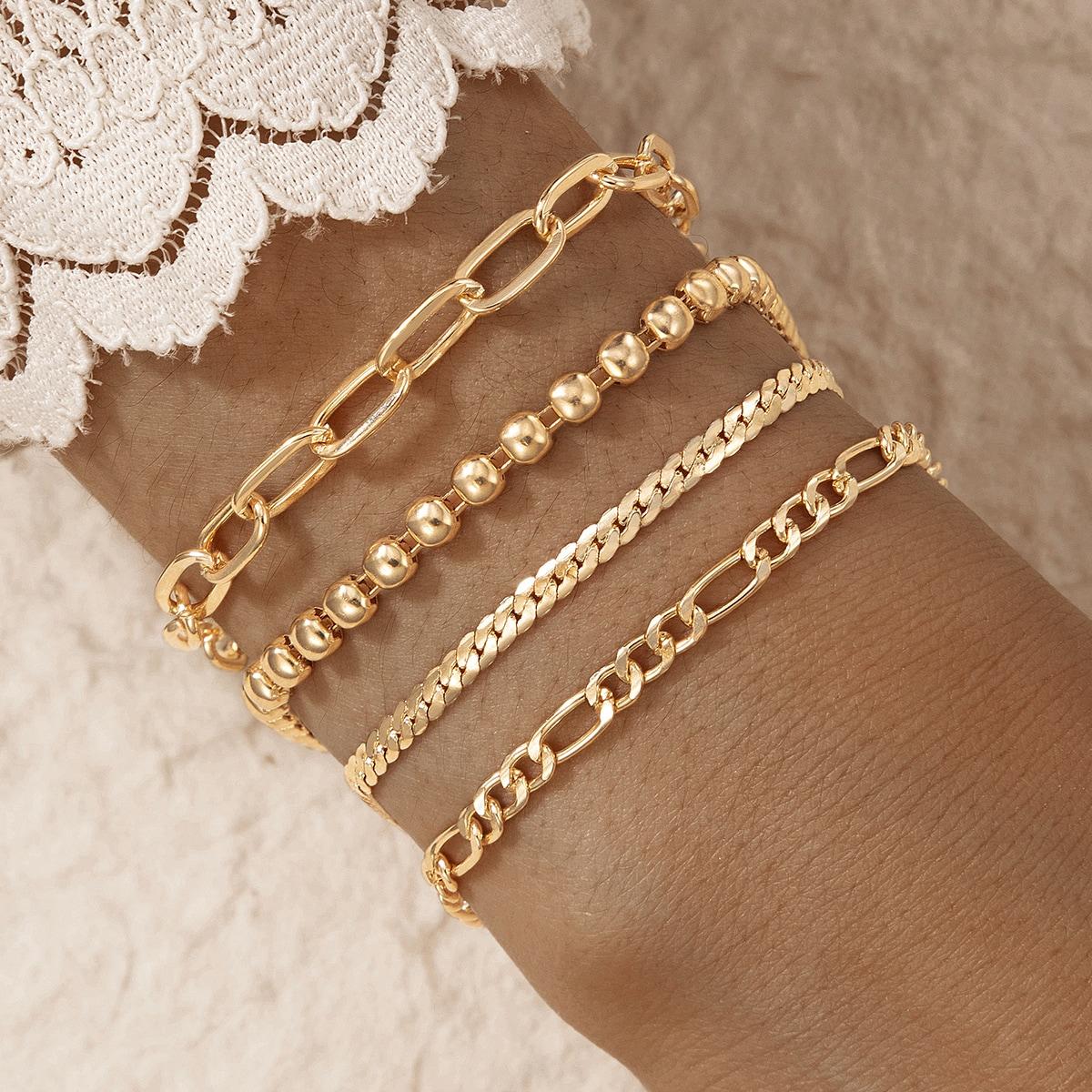 4 Stücke Armband mit Metall Kette