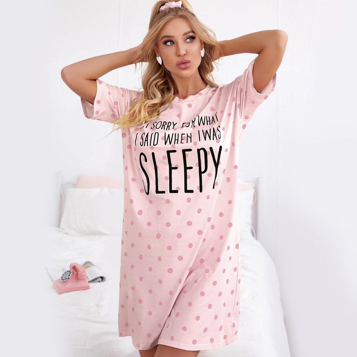 Пижама с рисунком в горошек и слоганом по цене 660