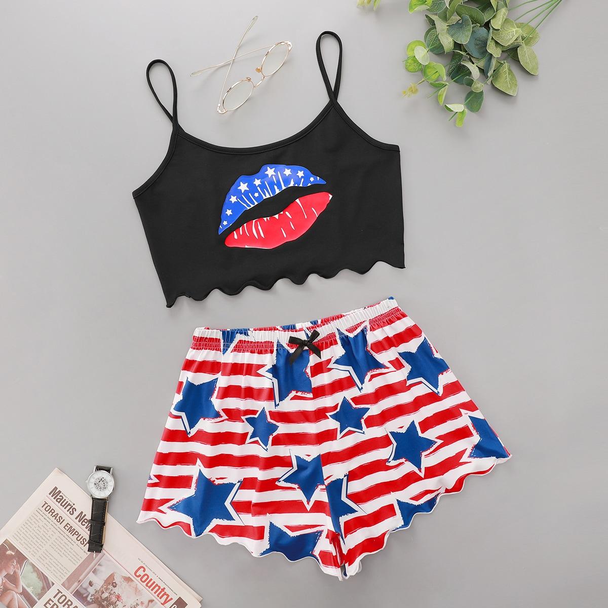 SHEIN / Star And Lip Print Scallop Trim Cami Pajama Set
