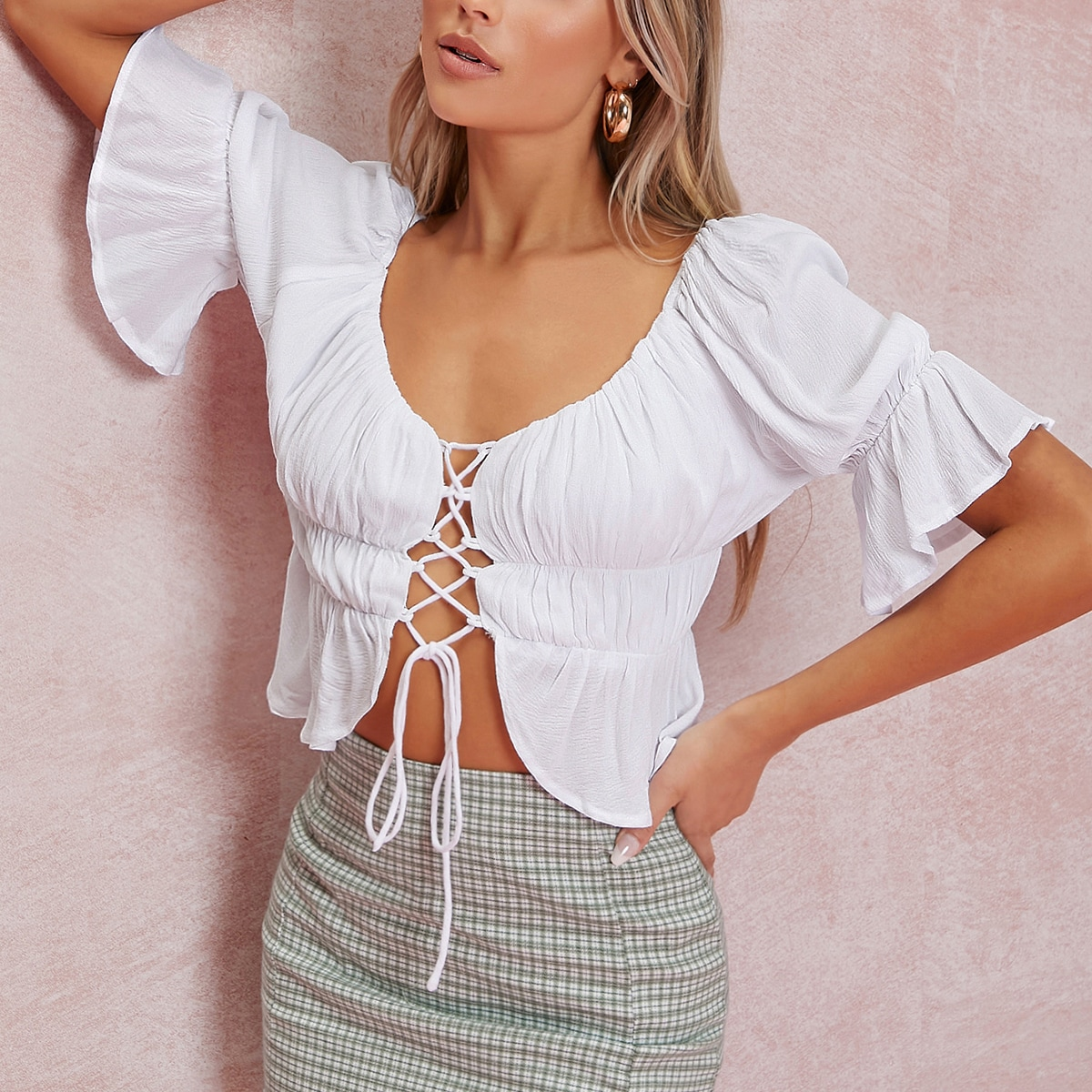 Crisscross Lace-Up Ruched Crop Top