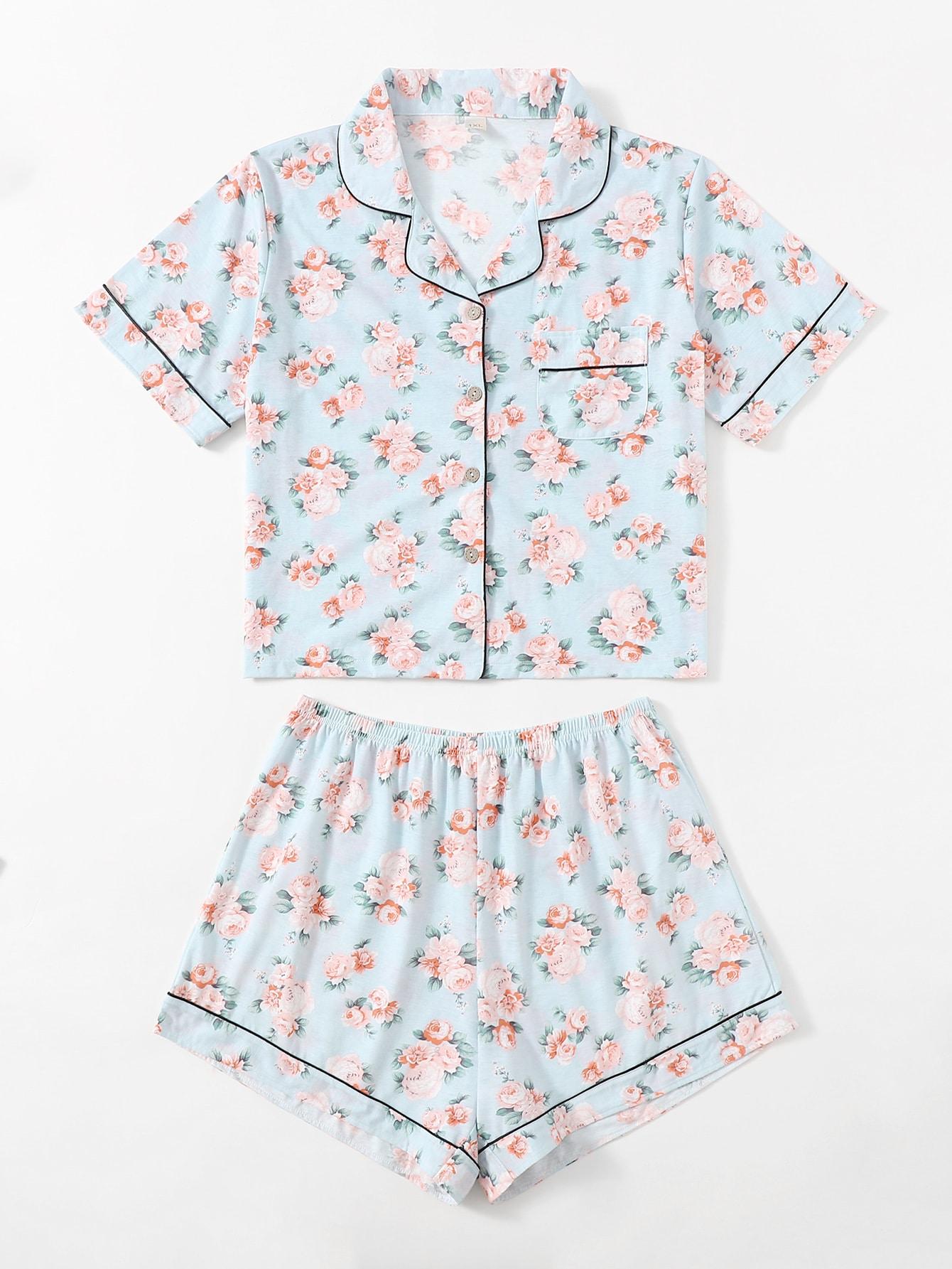 Plus Allover Floral Lapel Collar Pajama Set