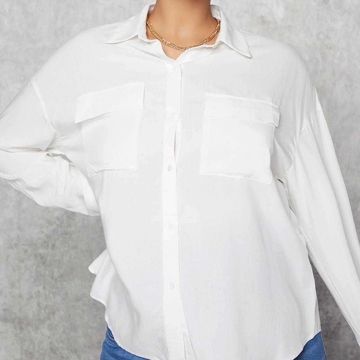 Einfarbige Drop Shoulder Bluse mit Klappe Taschen