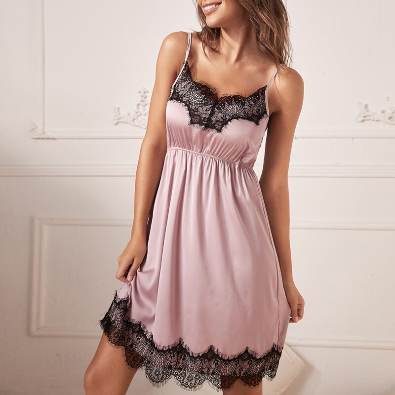 Lace Detail Satin Night Dress, Dusty pink