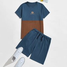 Guys Slogan Embroidered Tee & Drawstring Waist Track Shorts