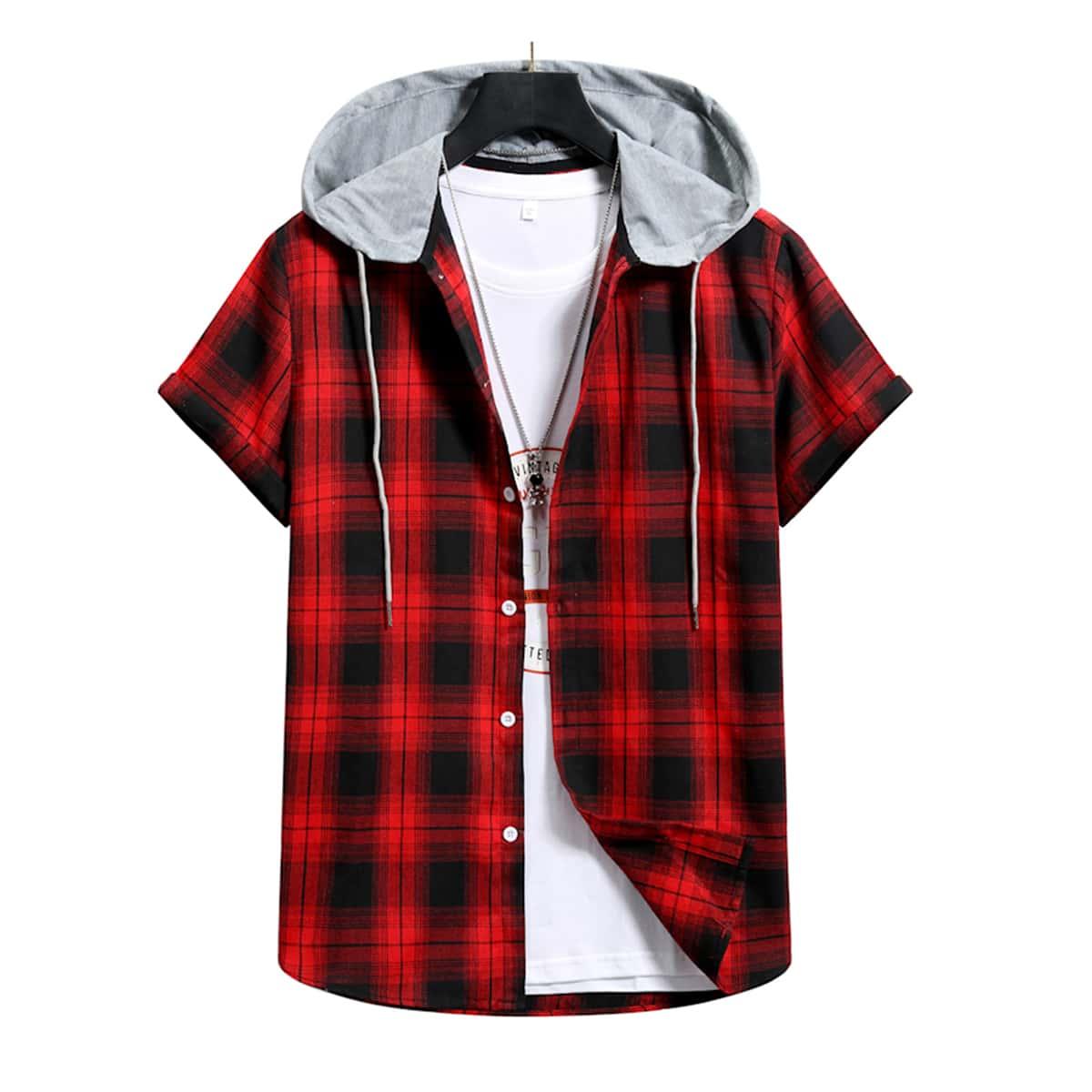 на кулиске Клетчатый Институтский Мужские рубашки SheIn smshirt03210113304