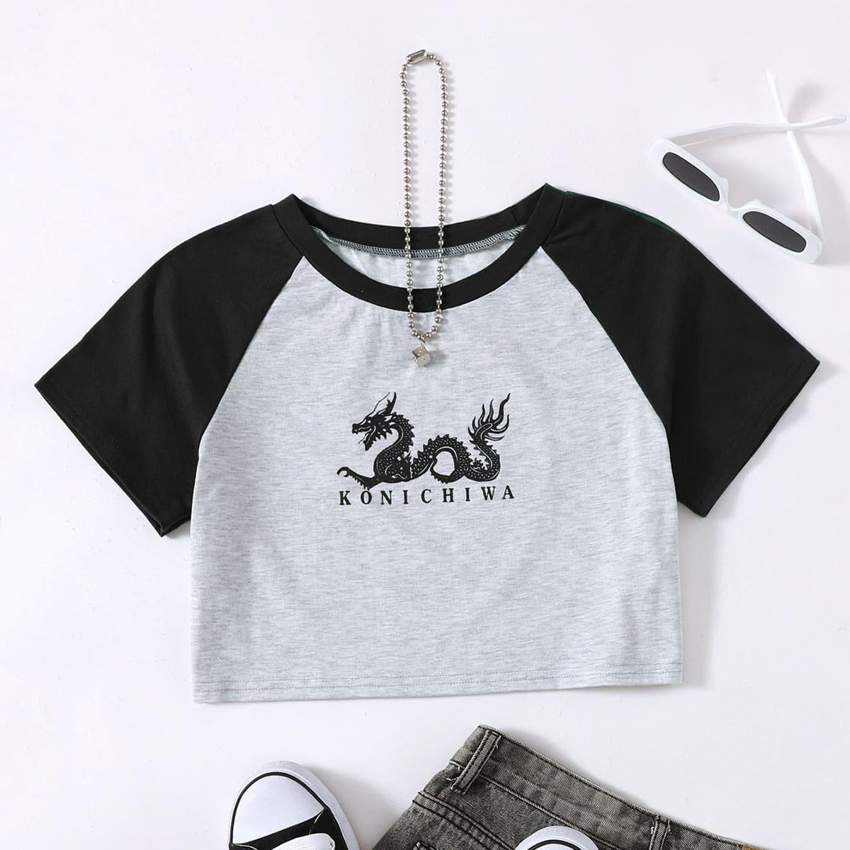 Короткая футболка с принтом китайского дракона по цене 510