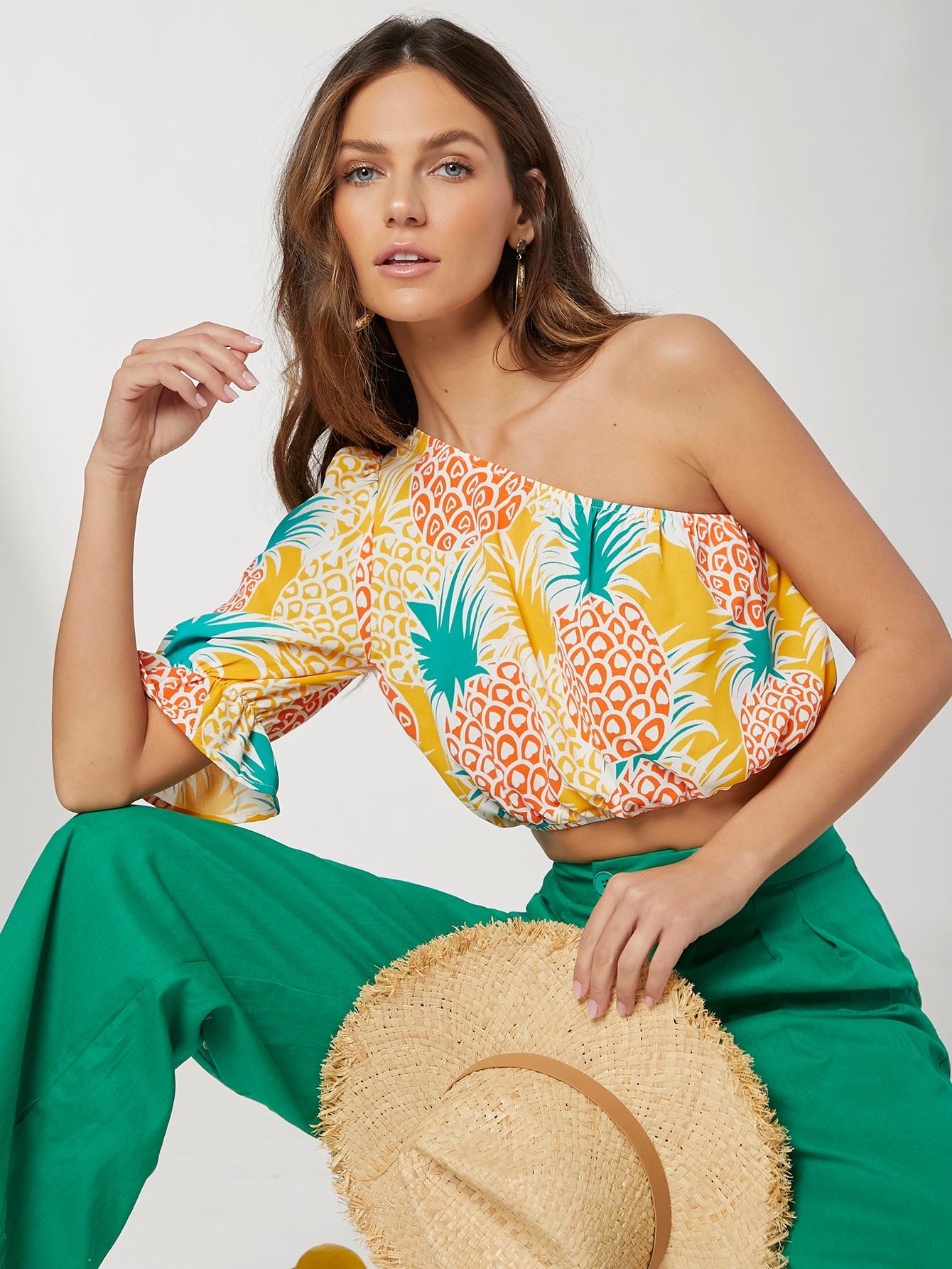 Pineapple Print One Shoulder Top