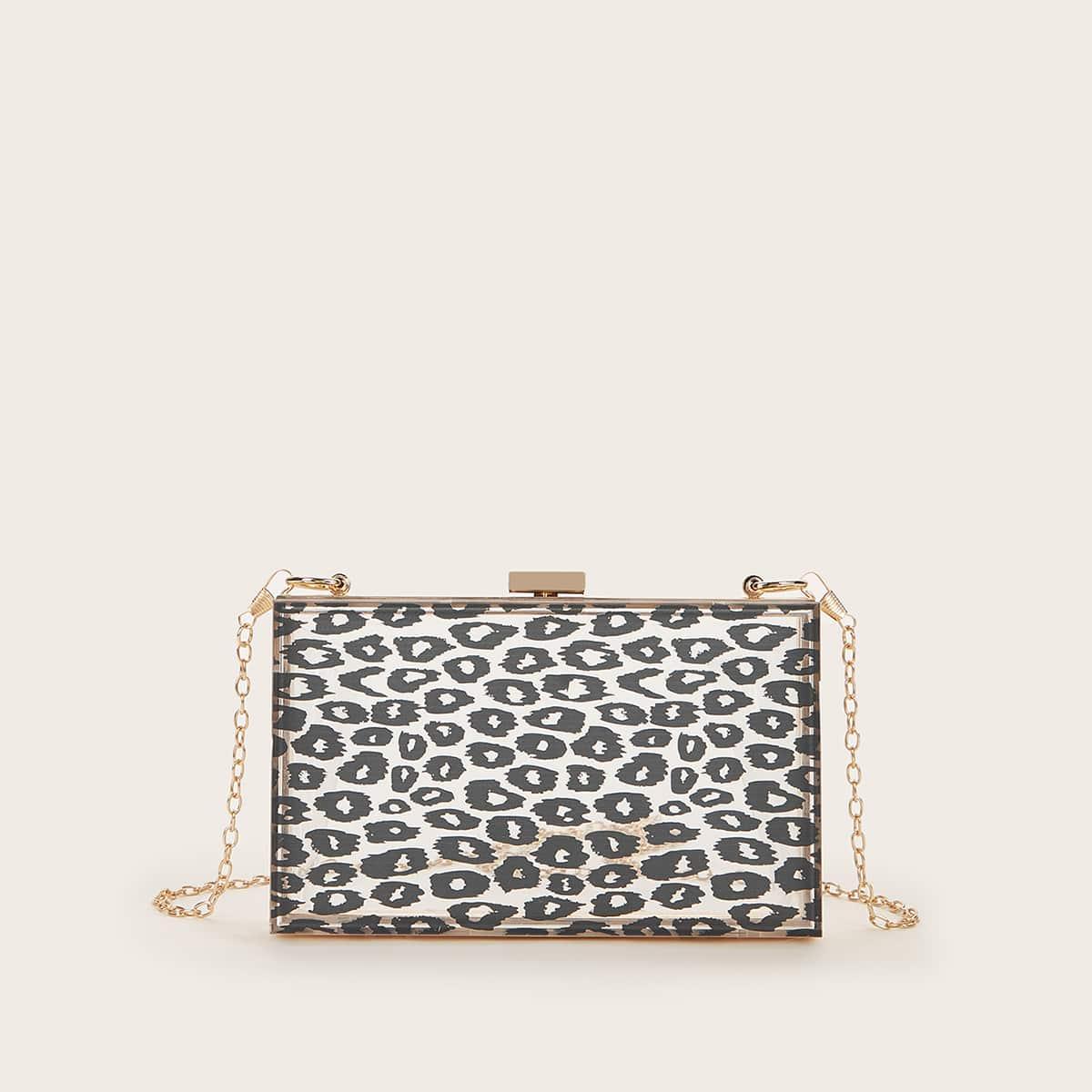 Прозрачная сумка-клатч на цепочке с леопардовым принтом
