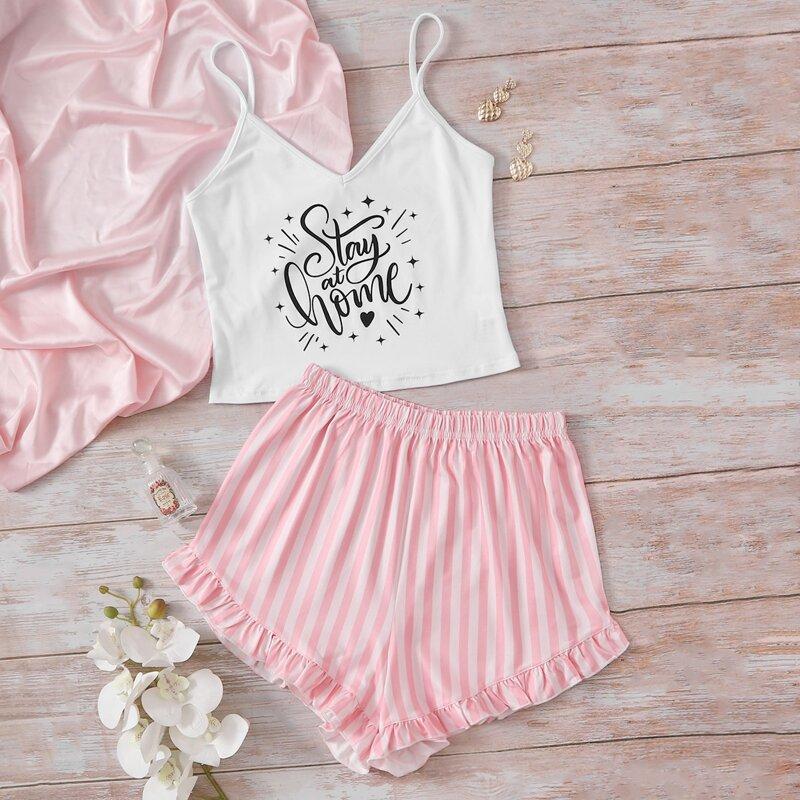 Letter Graphic Cami Top & Striped Shorts PJ Set, Multicolor