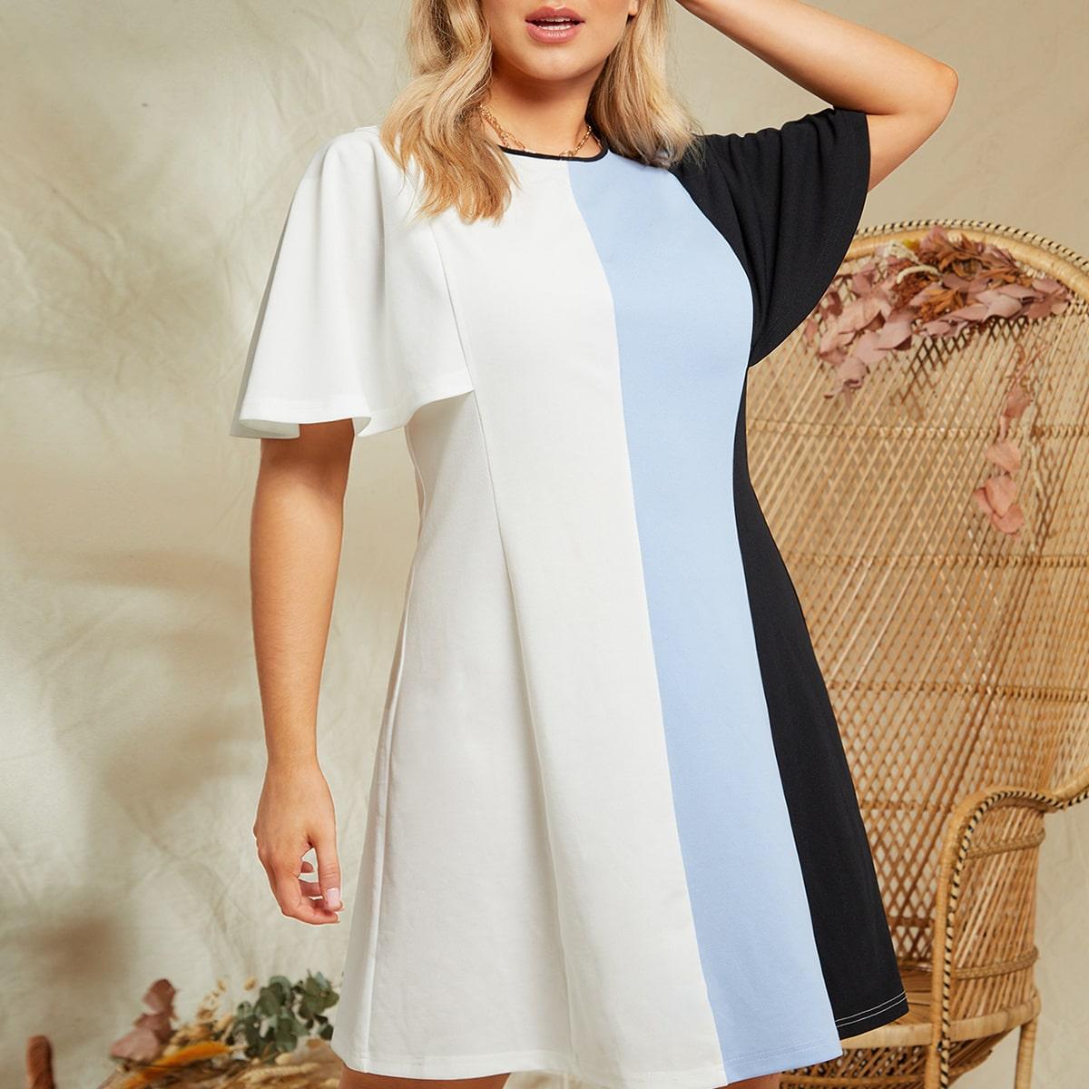 Контрастное платье размера плюс с оригинальным рукавом по цене 784