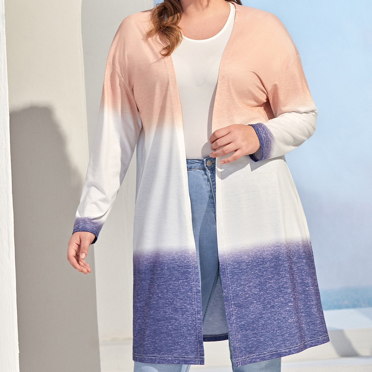 SHEIN Casual Ombre Grote maat: mantel