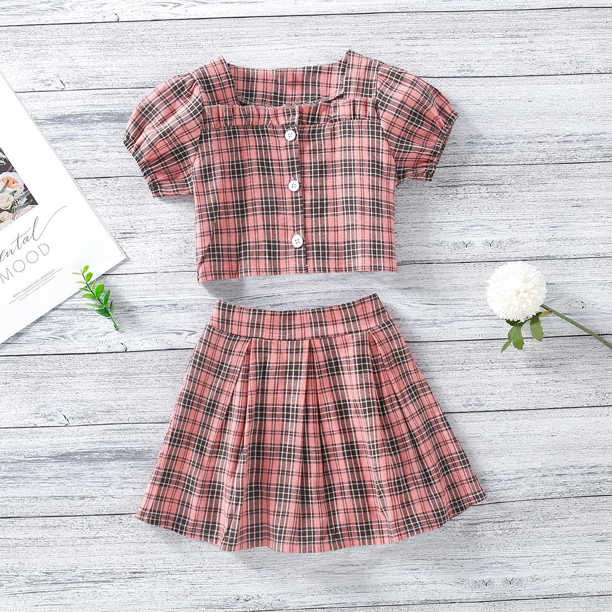 Toddler Girls Tartan Button Up Top & Skirt Set