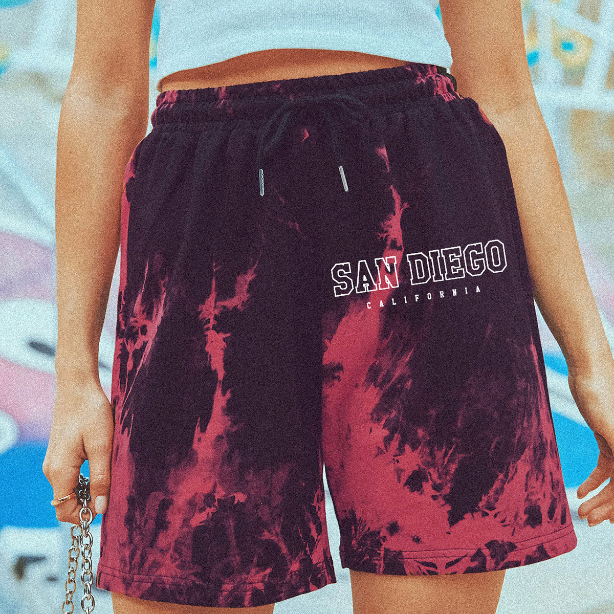 Letter Graphic Tie Dye Track Shorts