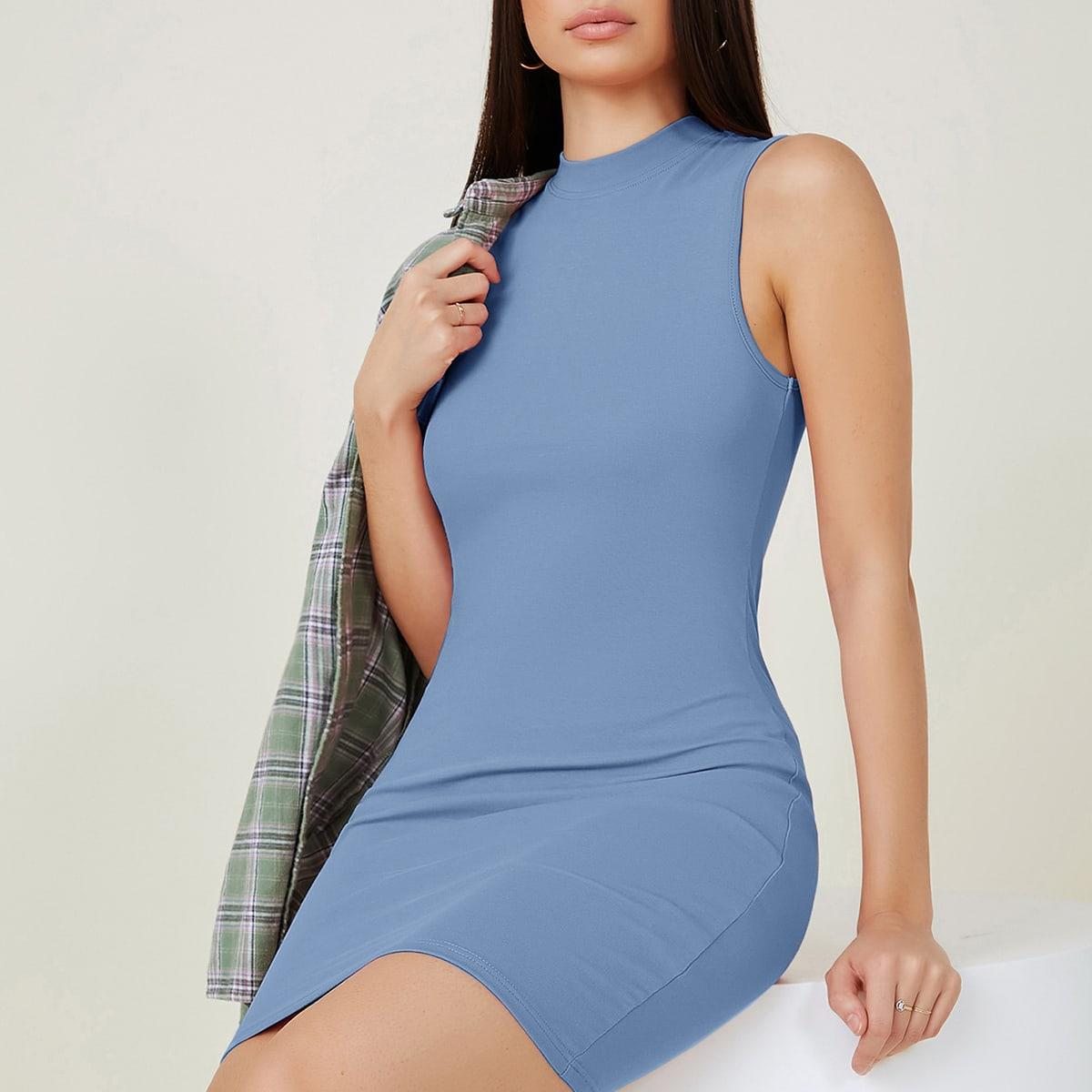 Облегающее платье с воротником-стойкой по цене 630