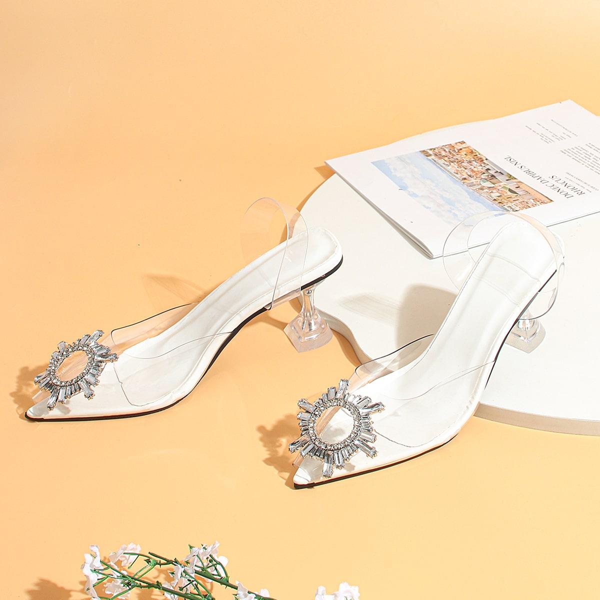 Прозрачные туфли на каблуках со стразами